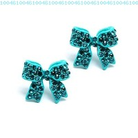 Fashion Crystal Pave Bow Ribbon Stud Earrings Teal:Amazon:Jewelry