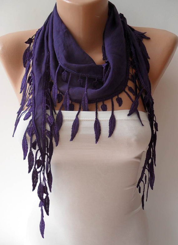 Purple Scarf with Purple Trim Edge - Summer Colors