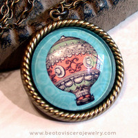 Picture Necklace - Victorian Hot Air Balloon Art Necklace - Vintage Style Whimsical Handmade Glass Picture Pendant Charm Jewelry