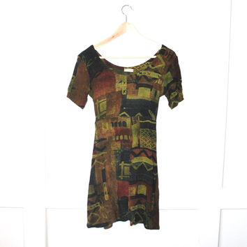 GRUNGE mini dress / HIPPIE chic earthy abstract print 80s rayon baby doll dress