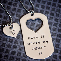 Home is Where My Heart Is dog tag necklace military soldier Veterans Day deployment jewelry his and hers set
