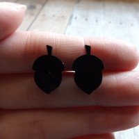 Black Acorn Earrings Black Acrylic Studs Acorn Fall Earrings Gift Under 20