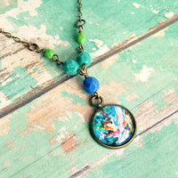 swirls of color pendant necklace, colorful, photo pendant, beaded necklace, colorful