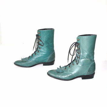 size 8.5 vintage riding boots / southwestern 1970s zodiac teal green ROPERS boho lace up FRINGE cowboy ankle boots
