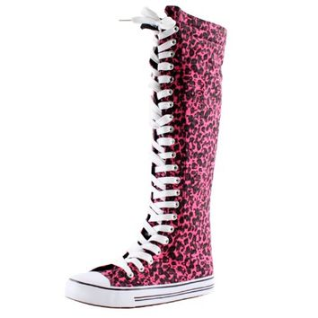 West Blvd Womens Sneaker Knee High Lace Up Boots