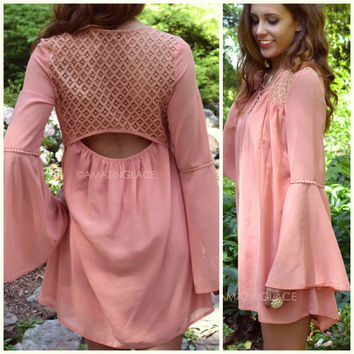 Coquette Coral Lace Back Bell Sleeve Dress