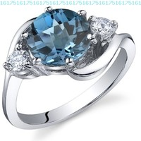 3 Stone Design 2.25 carats London Blue Topaz Ring in Sterling Silver Rhodium Nickel Finish Size 5 to 9:Amazon:Jewelry