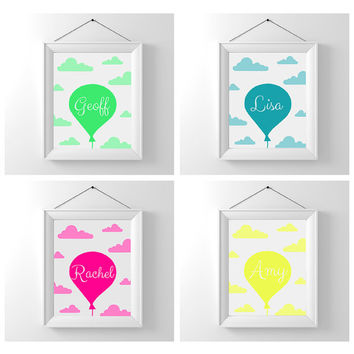 Personalised name print, nursery art, balloon in the clouds in green, teal, pink or yellow. Ideal christening gift or birthday treat.