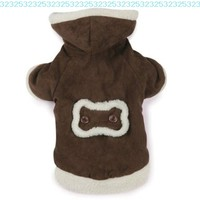 East Side Collection Polyester Hooded Sherpa Dog Coat, Medium, 16-Inch, Chocolate:Amazon:Pet Supplies