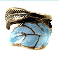 Vintage Style Women's Elegant Enamel Unique Leaves Ring:Amazon:Jewelry