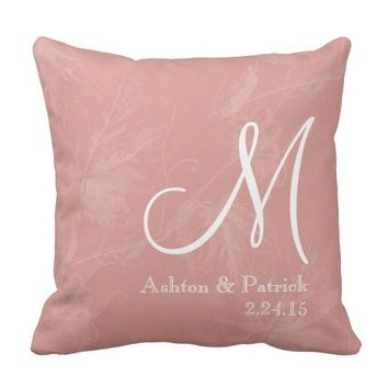 Vintage Grapevine Coral Personalize Wedding Pillow