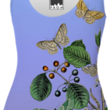 Butterflies and Foliage on Purple created by ScarebabyDesign | Print All Over Me