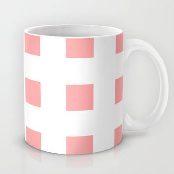 Coral Pink Cross Squares Mug by BeautifulHomes | Society6