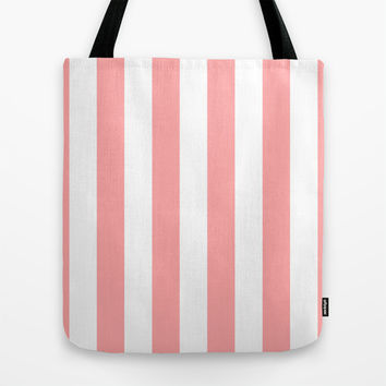 Coral Pink Stripe Vertical Tote Bag by BeautifulHomes | Society6