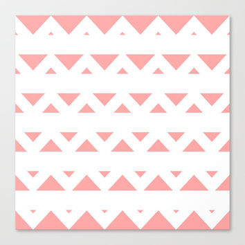 Coral Pink Tribal Triangles Stretched Canvas by BeautifulHomes | Society6