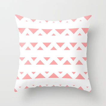 Coral Pink Tribal Triangles Throw Pillow by BeautifulHomes | Society6