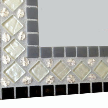 Black White Gray Mosaic Wall Mirror, Geometric Home Decor, Mixed Media Mosaic, Decorative Mirror