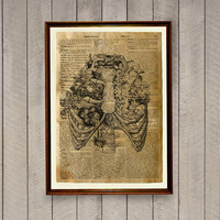 Anatomy decor Rib cage print Medical poster