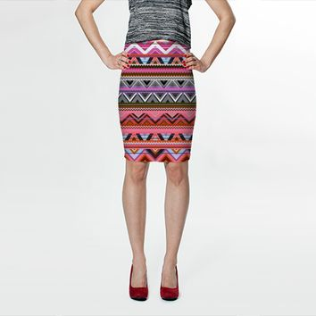 Pink Aztec Skirt by Ornaart (Fitted Skirt)