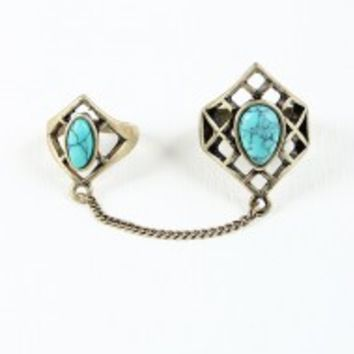 Cutout Gemstone Double Ring