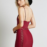 Skivvies by For Love & Lemons Womens Lace Insert Bodycon Slip - Bl