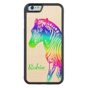 Rainbow Zebra Personalized Wood iPhone 6 Case