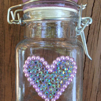 STASH JAR -- Iridescent Pink + Pearls Heart