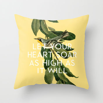 Soar Throw Pillow by Heart of Hearts Designs