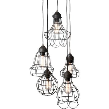 Lazy Susan Wire Five Pendant Lamp in Brown Iron