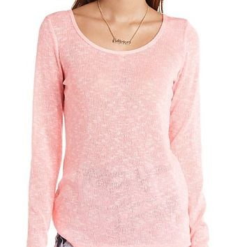 CAGED BACK LONG SLEEVE TUNIC TOP