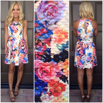 Kiss And Tell Floral Quilted Dress - CREAM