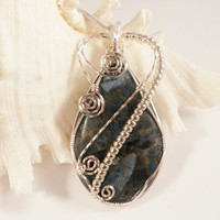 Sea Sediment Jasper & Pyrite Pendant, Wire Wrapped Jewelry, Handmade