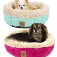 Round Shearling Cup Dog Beds