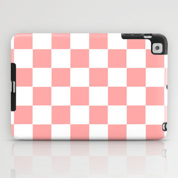 Coral Pink Checker Squares iPad Case by BeautifulHomes | Society6