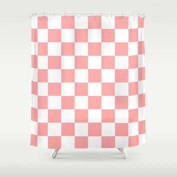 Coral Pink Checker Squares Shower Curtain by BeautifulHomes | Society6