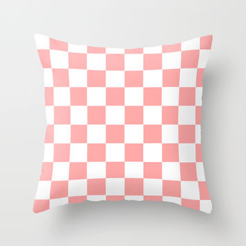 Coral Pink Checker Squares Throw Pillow by BeautifulHomes | Society6