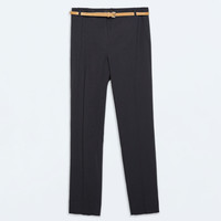 Cropped trousers with belt