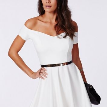 Missguided - Satyra Bardot Skater Dress White