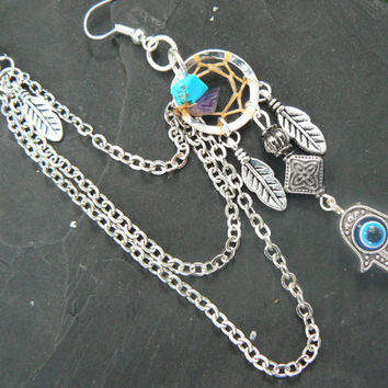 evil eye chained hamsa hand ear cuff  ONE dreamcatcher with turquoise and amethyst protection in yoga zen new age Indie boho hipster gypsy