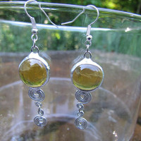 Stained glass earrings, yellow glass bead, also in Ski Blue decorative wire, silver plated chain and hook, dangle earrings