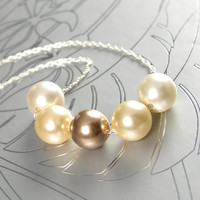 Cream Pearl Necklace Swarovski Crystal Pearl Necklace Sterling Silver Ivory Gold Pearl Necklace Bronze Pearl Necklace