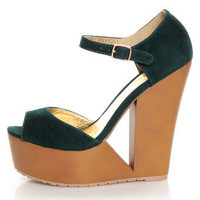 Qupid Luke 02 Green Velvet Architectural Cutout Platform Wedges - $34.00