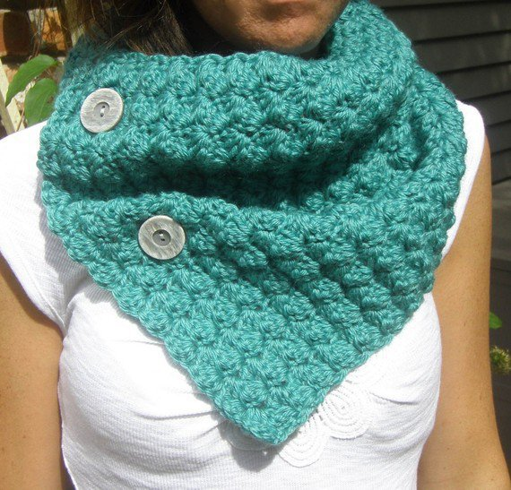 MEMORIAL DAY SALE Button Up Cowl in Teal by MegansMenagerie