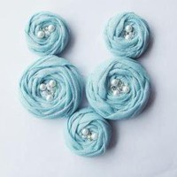 Blue Cotton Roses Handmade Applique.. on Luulla