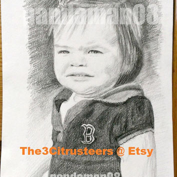 """Original Drawing 8"""" by 10"""" Custom Pencil Child Portrait Drawing For Parents or Grandparents"""