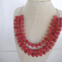 Sparkling Hot Pink Jade Triple Strand Necklace Stunning Gift fashion under 50