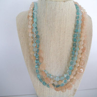 Peach and Aqua Stone Four Strand Necklace Stunning Unique Gift fashion under 50
