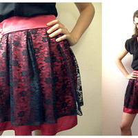 Wine colored Satin mini Skirt - black lace skirt