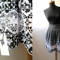 White Polka dot print Lace detail black knee length circle SKIRT -made to order