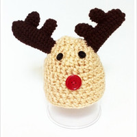 Crochet Beanie Hat Reindeer Christmas Hat Baby first Christmas Hat